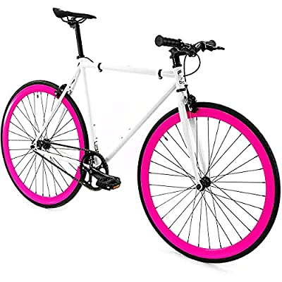 Golden Cycles Single Speed Fixed Gear Bike with Front & Rear Brakes(Dahlia 52), White/Pink