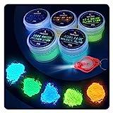 TRITART Pintura fluorescente en polvo - 5 x20gr colores que brillan en la oscuridad - Pintura luminiscente para pared, arte, slime y otras manualidades - Incluye linterna luz UV