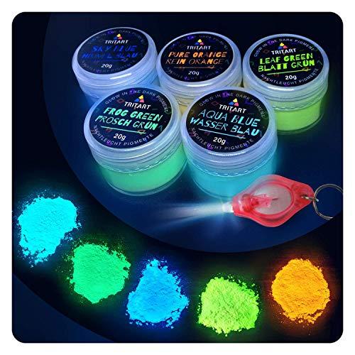 Tritart Fluoreszierendes Pulver Selbstleuchtend | 5 x 20g Nachtleuchtende Pigmente | Leuchtpulver Set mit GRATIS UV Lampe