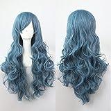 Ladies Mens Wig Disfraz Disfraz Halloween Party Accesorio Rojo Blanco Azul Sirena Rosa Donald Trump Rubio Largo Bob Ondulado (Peluca azul larga)