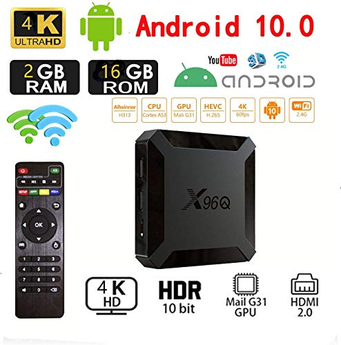 Android 10.0 TV-Box, X96 Mini 2020 Aktualisierte Version X96Q 2GB RAM 16GB ROM Smart-TV-Box Allwinner H313 Quad-Core-Unterstützung 4K 3D-Set-Top-Box X96 Mini WiFi Home Media Player
