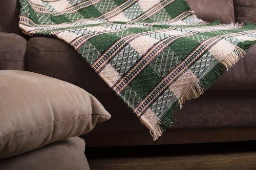 DecoKing 170x205 cm beige grün Jacquard Decke Bettüberwurf Tagesdecke Wolle Kariert Cappuccino Green