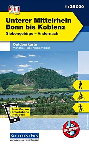 Deutschland Outdoorkarte 31 Unterer Mittelrhein, Bonn bis Koblenz 1 : 35 000: Siebengebirge-Andernach. Wanderwege, Radwanderwege, Nordic Walking (Kümmerly+Frey Outdoorkarten Deutschland)