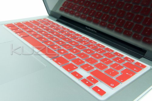 Kuzy - EU/UK RED Keyboard Cover Silicone Skin for MacBook Pro 13' 15' 17' (with or w/Out Retina Display) iMac and MacBook Air 13' (European/ISO Keyboard Layout) - Red