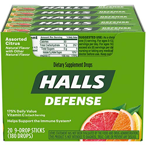 HALLS Defense Vitamin C Drops, Assorted Citrus Flavors, 20 Pocket Sticks (9 Drops Per Stick)