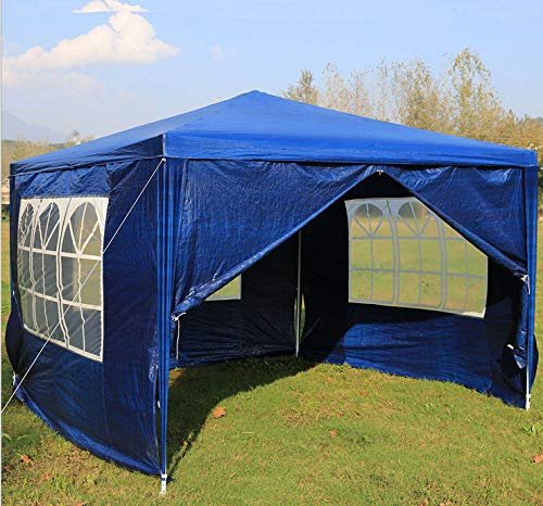 JAOSY Large Event Tent, 3x3m Fully Waterproof Gazebo For Festivals Garden Camping Portable Sun Shelter With Sun Protection & 4 Removeable Walls, Blue