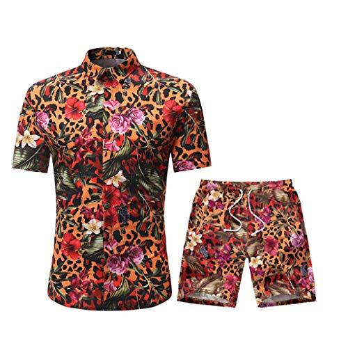 DAY8 Ensemble Homme Short Et Chemise Manche Courte Set Sportswear Homme Ensembles 2 Pièce Survetement Homme Ete Hawaïenne Decontracte Grande Taille Chic Imprimé Fleurs (Jaune, XL)