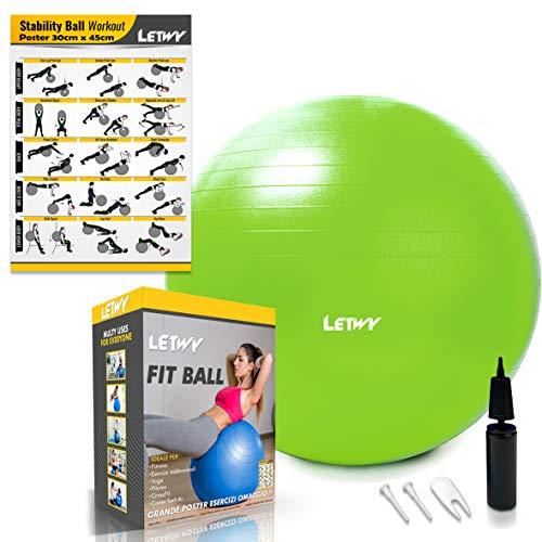 LETWY Palla Fitness   65 cm, Verde   Nuova Versione 2020 con Poster...