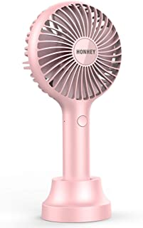 HonHey Handheld Fan Portable, Mini Hand Held Fan with USB Rechargeable Battery, 3 Speed Personal Desk Table Fan with Base, 8-12 Hours Operated Small Makeup Eyelash Fan for Women Girls Kids Outdoor and Indoor