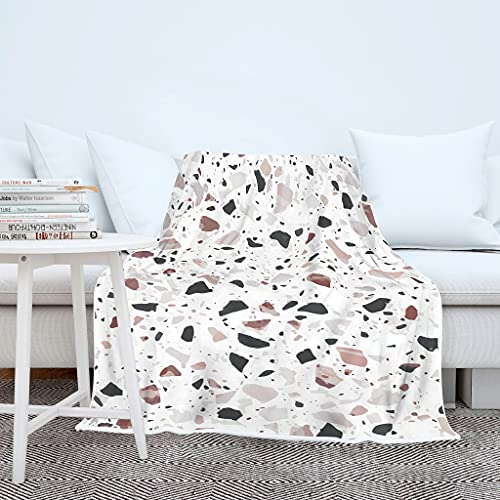 Terrazzo - Manta de microfibra suave y cálida para el sofá, para dormir, para adultos y niños, color blanco, 130 x 150 cm