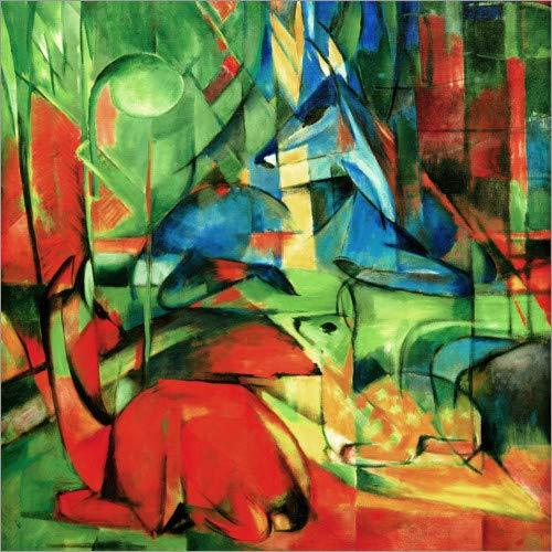 Posterlounge Acrylglasbild 40 x 40 cm: Rehe im Walde II von Franz Marc - Wandbild, Acryl Glasbild, Druck auf Acryl Glas Bild