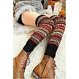 HuaYang Fashion longue chaussette des femmes collant jambière tricoté d'hiver(Noir)