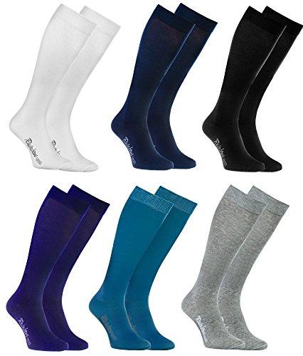 Rainbow Socks - Femme Homme Chaussettes Hautes Colorées en Coton - 6 Paire - Blanco Gris Negro Azul Azul Marino Violeta - Taille UE 39-41