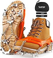 Sfee Ice Snow Grips Crampons Traction Cleats Spikes 19 Spikes for Women Men,Anti Slip Stainless Steel Chain Flexible...