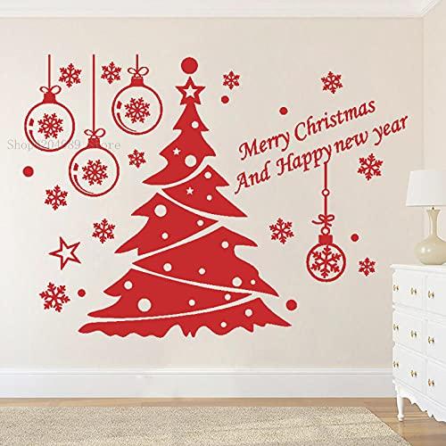 Creativo árbol de Navidad pegatinas de pared de vinilo puertas y ventanas colgando muñeco de nieve árbol bola Papá Noel artista decoración del hogar DIY DIY 40x30cm
