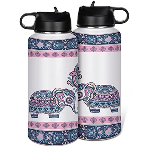 KittyliNO5 Borraccia da viaggio in acciaio inox, con motivo a elefante, a doppia parete, isolante, con cannuccia, per sport, caffè, 1000 ml, colore: bianco