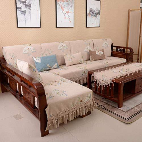 ZQCM Funda de sofá 1 2 3 4 Funda de sofá, Funda de Almohada de Respaldo de cojín de sofá Antideslizante, Funda de sofá Impermeable para Mascotas, Beige, 110x160cm(43 * 63inch)