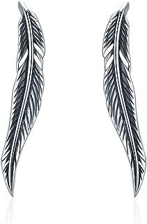Feather 925 Sterling Silver Ear Cuff Wrap Earrings for Women Girls Pierced Ears Crawler Climber Hypoallergenic
