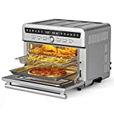 COSTWAY Air Fryer Oven, Air Toaster Oven with Roast, Dehydrate, Bake, Broil, Grill, Oil-Less Oven with Temperature & Time Dial, Stainless Steel Body, 4 dishwasher-safe Accessories & 20 Recipes, 1800W