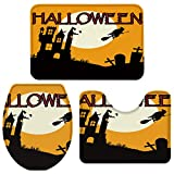 3 Pieces Bathroom Rugs and Mats Sets, Non Slip Water Absorbent Bath Rug, Toilet Seat/Lid Cover, U-Shaped Toilet Mat, Home Decor Doormats - Halloween Castle Witch Bats