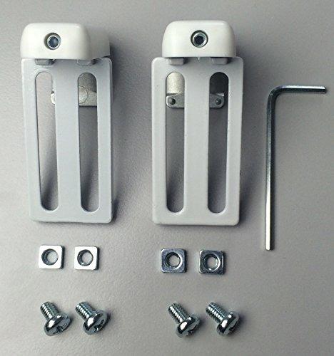 Rollo-Klemmträger ~ Kinderleichte Montage ~ Material: Kunststoff/Metall ~ Farbe: Weiß ~ Lieferumfang: 1 Paar Klemmträger, 2 Paar Schrauben, 2 Paar Muttern