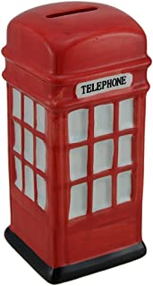 Concepts in Time Red Ceramic Phone Booth Money Bank 6 Inches