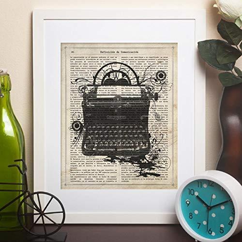 Nacnic Poster de Maquina de Escribir Continental.Láminas Vintage para decoración de Interiores. Posters con diseño Vintage y definiciones. Tamaño A4 con Marco