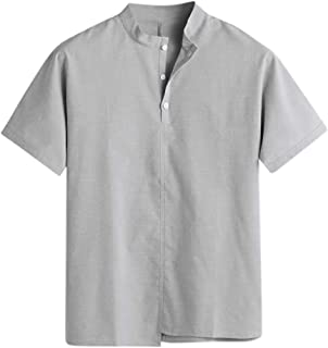 Alimao Linen and Cotton Short Sleeve T Shirts Casual Tee,Short Sleeve Polo Shirts Beach Linen Cotton Yoga Summer Casual Tops
