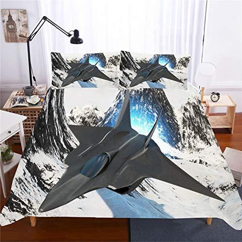 DWSM Juego de cama de microfibra con diseño de avión 3D, funda nórdica + 1/2 fundas de almohada de 50 x 75 cm para niños (08,140 x 210 cm)