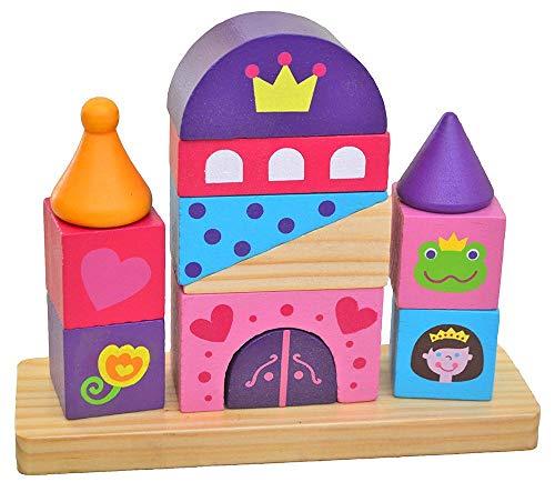 Tooky Toy Château princesse en bois - Blocs de construction - Puzzle - Assemblage - 5 formes - Jouet en bois - Jouet enfant - à partir de 3 ans - env. 15 x 18,5 x 6 cm