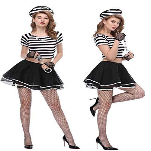 ZBBYMX Gevangene Jurk Leuke Fluffy Mini Rok Ontbrekende Buik Knop Halloween Kostuum