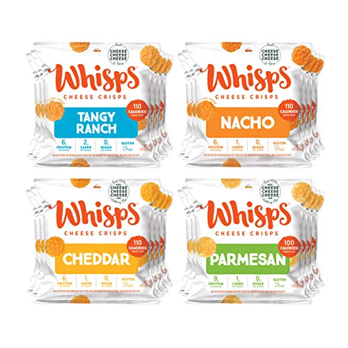 Whisps Cheese Crisps 24-Pack Variety Assortment | Tangy Ranch, Nacho, Cheddar, Parmesan | Keto Snack, Gluten Free, Sugar Free, Low Carb, High Protein | 0.63oz (24 Pack)