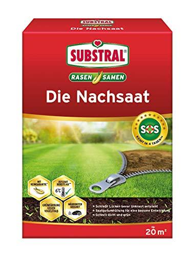 Substral Rasensamen Die Nachsaat, Rasensaat, Schnell keimende strapazierfähige Rasenreparatur-Mischung, 400 g für 20 m²