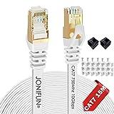 15m Cable de red Gigabit Ethernet Lan CAT7 (RJ45) - Cable de conexión a red S/FTP - Compatible con CAT5/CAT5e/CAT6 - Conmutador/router/módem/campos de conexión - Blanco 15M - Clips Gratis