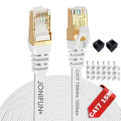 Cat 7 Ethernet Cable 15m - Fastest Cat7 Flat Ethernet Patch Cables 10GB -...