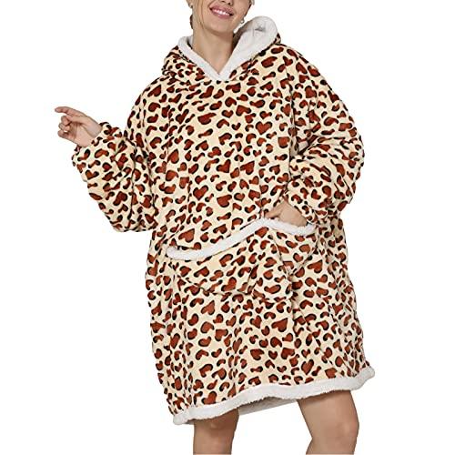 Manta con capucha de gran tamaño, regalos para mujeres y niñas, cómoda con capucha de forro polar como regalo de cumpleaños, leopardo, Talla única