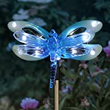 Exhart Dragonfly Metal Stake w/ 12 LED Lights – Solar Baby Blue Acrylic Dragonfly Stake - Features Solar LED Decor Lights – Solar Dragonfly Decor, 4 X 34""