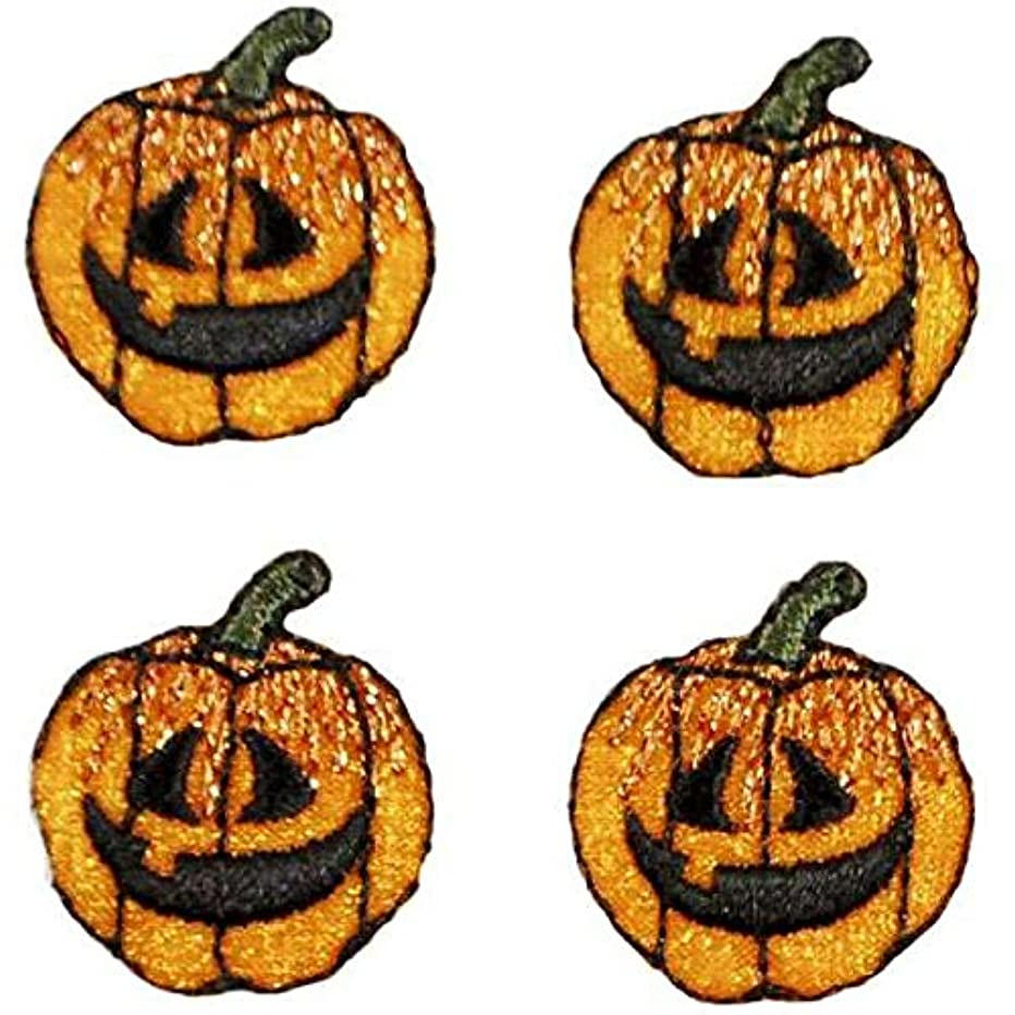 Expo International Halloween Mini Jack-O-Lantern Iron-on Applique Trim Embellishment, Multi-Color, 4-Pack