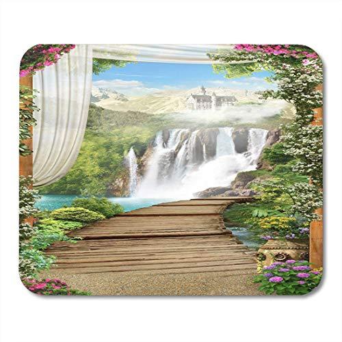 Muismat voor muismatten, verse groene gordijnen, houten brug, waterval en slot, strand, wit, zomer, muismat
