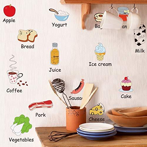 Qingany Keukencommunie, levensmiddel-muursticker, voor dranken, melk, koelkast, eettafel, decoratie, afneembaar, zelfklevend, waterbestendig