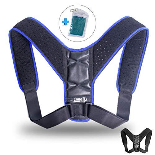 INNOTI Corrector de Postura Espalda para Hombre y Mujer - Soporte para Mantener los Hombros y la Espalda Recta - Ajustable y de Material Suave y Transpirable para el Máximo Confort (Azul)