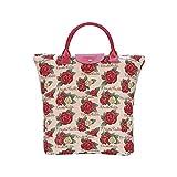 Signare tapiz bolsas reutilizables tote bag bolsa compra para mujeres con diseños de Frida Kahlo (Frida Rose)