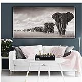 Manada de elefantes africanos Decoración de la vida salvaje Pintura de la lona Fondo del hogar Pintura de la pared Arte Cuadros Decoracion Salon Big-50x100cm Sin marco