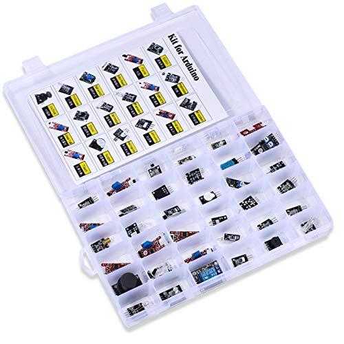 Kit sortido de 37 sensores. Kit de iniciante com 37 sensores para Arduino Raspberry Pi, kit de sensor 37 em 1, projetos de robôs para Arduino UNO R3, MEGA, Nano, Raspberry Pi 3,3B+, RPi A, Modelo B, B+, 2