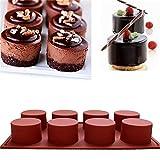 Jungen 8Cavidad jabón cilindro redondo DIY molde Cupcake molde de silicona, silicona, Rojo, 6 tazas