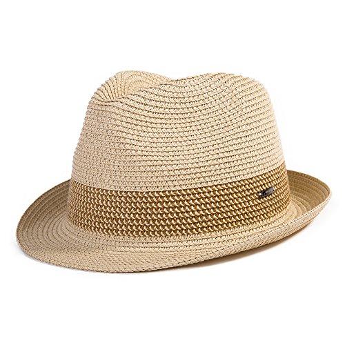 Comhats Paja Unisex Sombrero Hombres Empacables Mujeres Fedora Trilby Panamá Verano ala Corta Beige XL