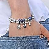 Hecha a mano, pulsera cuero de'Lapis Lazuli' piedra natural, con colgantes y abalorios de zamak, realizada por Intendenciajewels - Pulseras zamak mujer - Joyeria boho