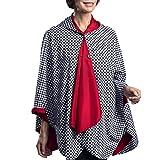 RainCaper Rain Poncho for Women - Reversible Rainproof Hooded Cape in Gorgeous Ultrasoft Colors (Crimson and B&W Houndstooth)