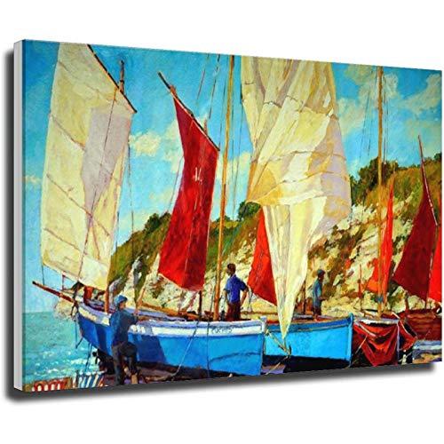 Bootsbild Poster Leinwand Gemälde Wandkunst Wohnzimmer Heimdekoration Rahmen Stil 1 20 × 30 cm