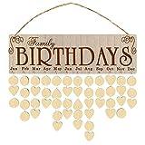 HERCHR Calendario de recordatorio de cumpleaños Familiar, Placa de Calendario de Madera DIY, Innovador Adorno para Colgar en la Pared, Gran Regalo para mamá y papá